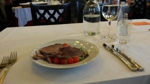 The pre lunch – salad (tomatoes, cucumbers…) and lamb.