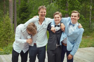 There we are, 4 brothers, laughing. I have Jaakko's head in my armpit, it's love.