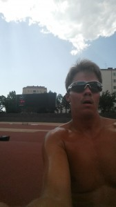 Somewhere after the first 800 m, I guess… 36 C°, but it WAS 37!