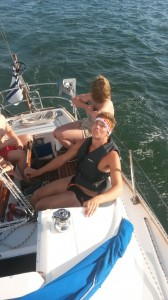 I was on the rudder, observing the main sail very professionally...