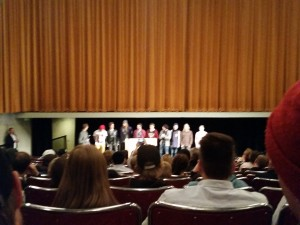 The skiers on stage, in the premiere of the first-, and the last ever Nipwitz movie, Brain Massage!