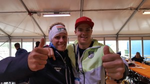 Here I am with the fastest Frenchman in the orienteering circles! He pumped our team up a few hundreds of spots...